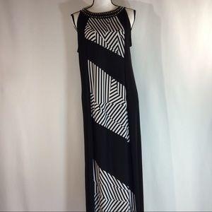 Style & Co. Black/White Maxi Dress Large